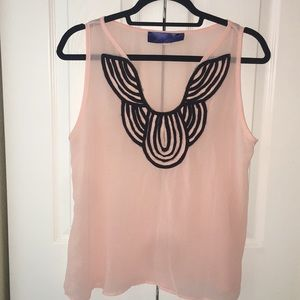 Sheer baby pink/black woven necklace blouse